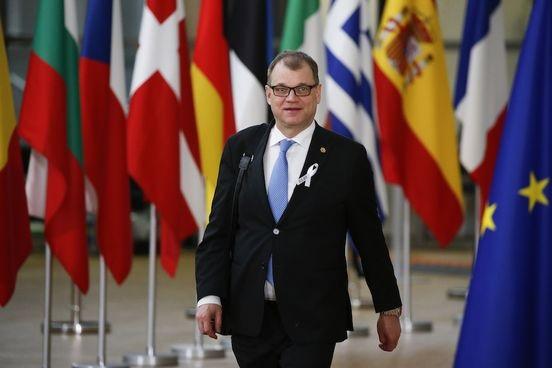 Pääministeri Juha Sipilä Eurooppa-neuvoston kokouksessa maaliskuussa 2018.