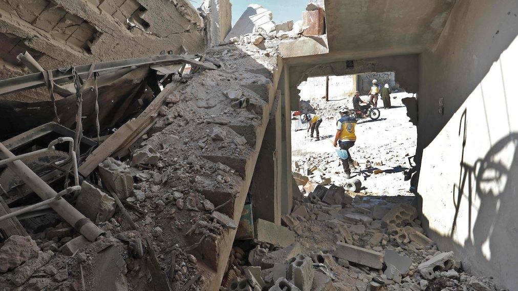 Syyrian konfliktin jälkiä.