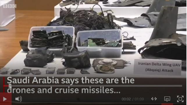 Saudi-Arabia on asettanut esille jäänteitä lennokeista ja ohjuksista.