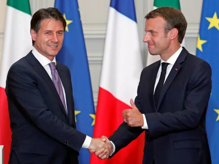 Italian pääministeri Giuseppe Conte ja Ranskan pääministeri Emmanuel Macron.