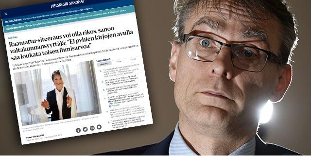 Helsingin Sanomien uutinen Raija Toiviaisen ulostulosta. Oikealla kuvassa Tuomas Pöysti.