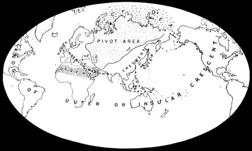Sydänmaan teoriaan liittyvää kartastoa.
