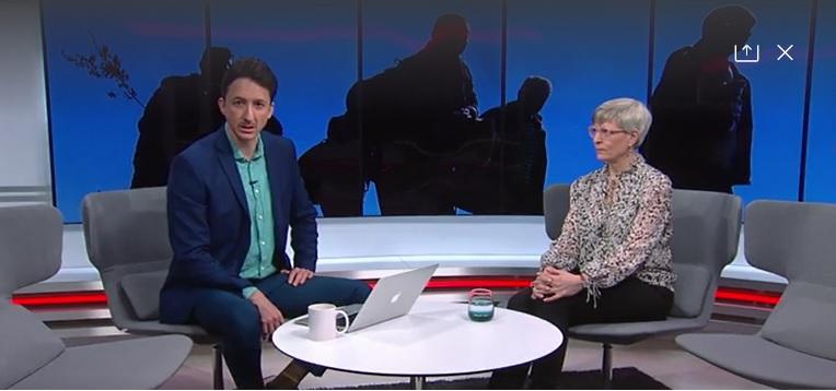 MTV:n Uutisaamu haastattelussa Kirsi Pimiä.