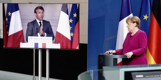 Ranskan presidentti Emmanuel Macron ja Saksan liittokansleri Angela Merkel yhteisessä tiedotustilaisuudessa Foto/kuva: KAY