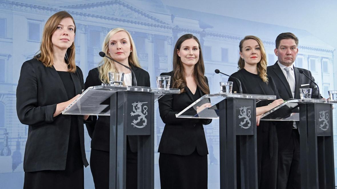 Vasemmalta alkaen Li Andersson, Maria Ohisalo, Katri Kulmuni sekä Thomas Blomqvist. Kuva: KIMMO BRANDT/EPA