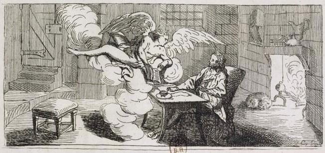 Piirustus: Herra ilmestyy Swedenborgille lontoolaisessa majatalossa.